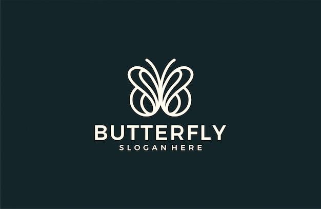Минималистичный логотип линии бабочки Premium векторы
