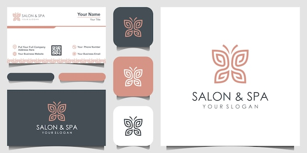 Minimalist butterfly with letter ss line art monogram shape logo. beauty, luxury spa style. logo des
