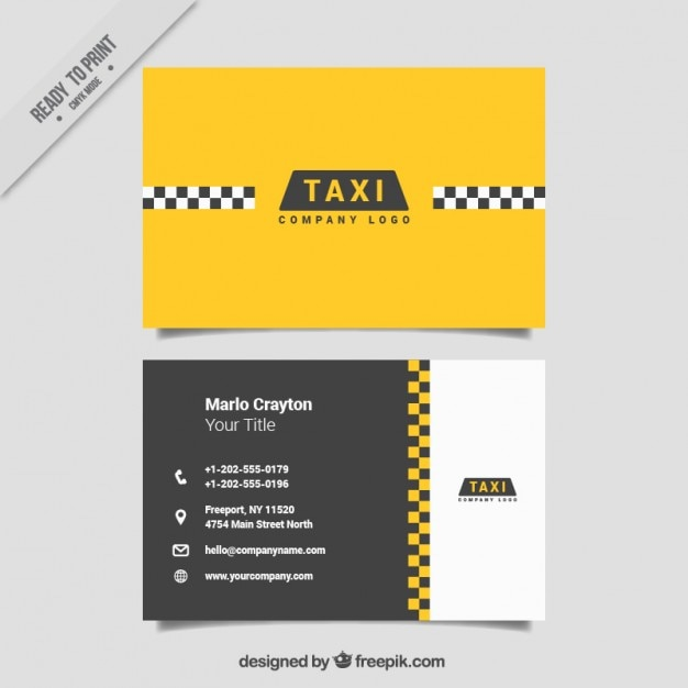 Minimalist cards for taxi service Free Vector