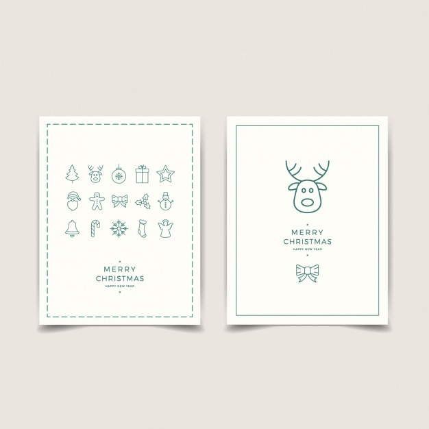 Minimalist Cards With Christmas Decoration Vector Free Download