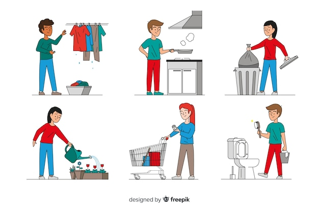 Minimalist characters doing housework Free Vector