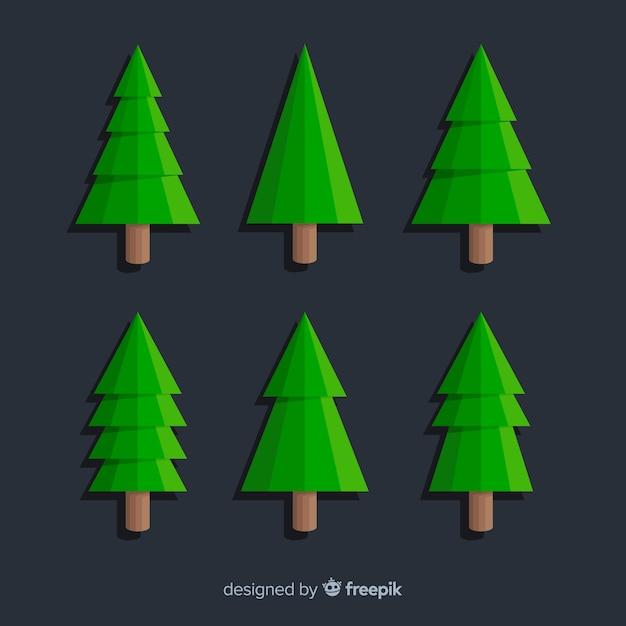 Christmas Green.Minimalist Christmas Green Tree Collection Vector Free