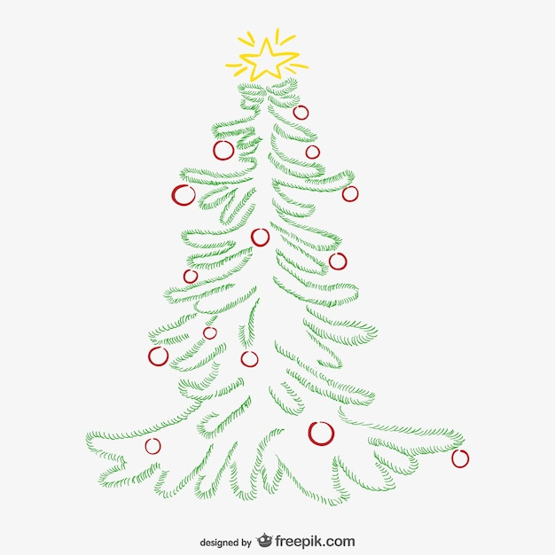 Minimalist christmas tree with ornaments vector free for Minimalist christmas tree