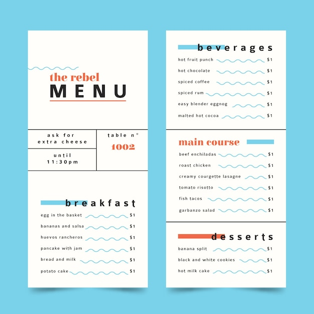 Minimalist colorful restaurant menu template Free Vector