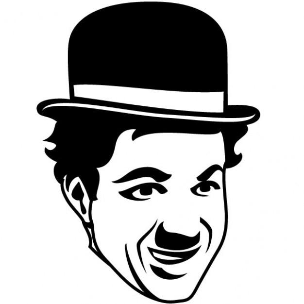 Minimalista disegno chaplin faccia Vettore gratuito
