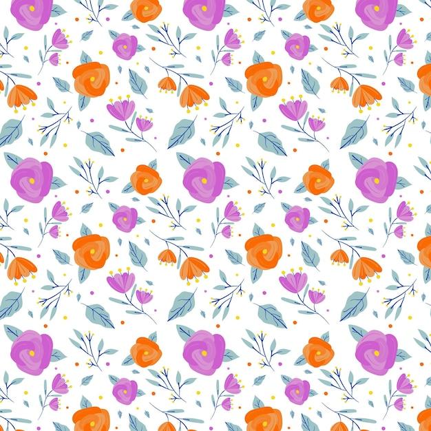 Минималистичный нарисованный цветочный узор фона Бесплатные векторы