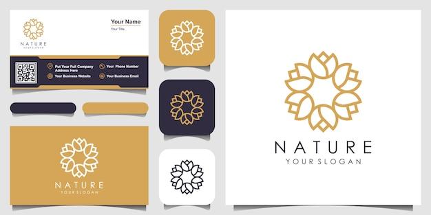미니멀 한 우아한 꽃 장미 원형 로고 및 명함 디자인. 아름다움, 화장품, 요가 및 스파 로고. 프리미엄 벡터