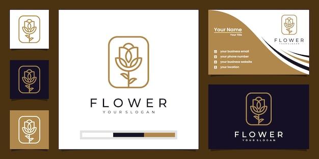 美容、化粧品、ヨガ、スパ向けのミニマリストのエレガントなフローラルローズ。ロゴと名刺 Premiumベクター