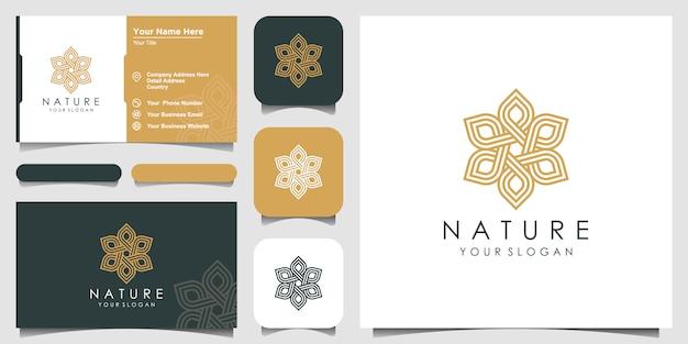 Минималистская элегантная цветочная роза для красоты, косметики, йоги и спа. логотип и визитка Premium векторы