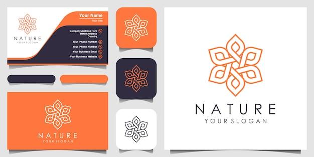 Минималистский элегантный цветочный логотип розы для красоты, косметики, йоги и спа. логотип и визитка Premium векторы