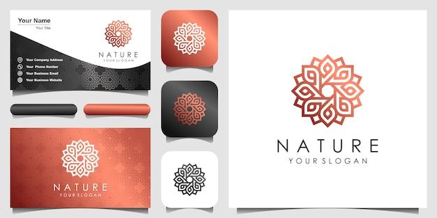 ラインアートスタイルのシンプルなエレガントなフローラルローズのロゴ。美容、化粧品、ヨガ、スパのロゴ。ロゴと名刺のデザイン。 Premiumベクター
