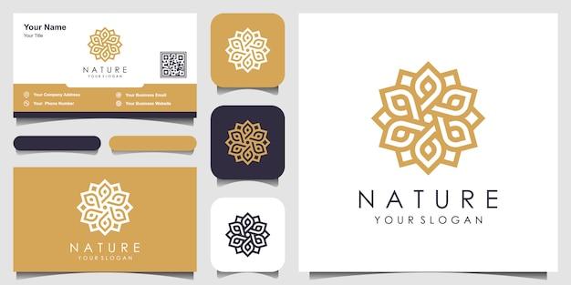 Минималистская элегантная цветочная роза с логотипом в стиле арт-линии и визитной карточкой. логотип для красоты, косметики, йоги и спа. дизайн логотипа и визитки Premium векторы