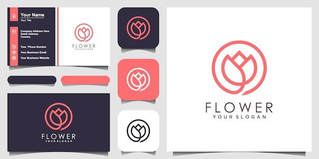 Минималистский элегантный цветок розы красоты с линией в стиле арт. логотип использовать косметику, вдохновение логотип йоги и спа. набор логотипов и визиток Premium векторы