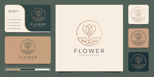 Minimalist elegant flower rose luxury beauty salon, fashion, skin care, cosmetic, yoga and spa products. logo templates and business card design. Premium Vector