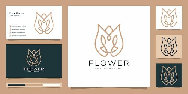 Minimalist elegant flower rose luxury beauty salon, fashion, skincare Premium Vector