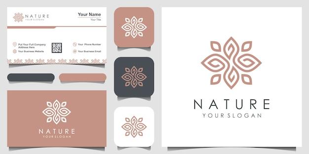ミニマリストのエレガントな葉と花のバラ。ロゴデザインと名刺 Premiumベクター