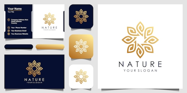 美容、化粧品、ヨガ、スパのためのシンプルでエレガントな葉と花のバラのロゴデザイン。ロゴデザインと名刺 Premiumベクター
