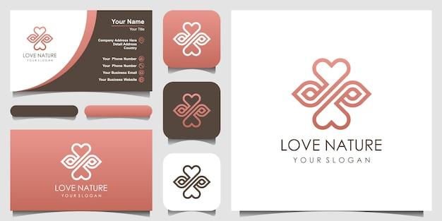 Минималистский элегантный лист и символ любви логотипа в стиле арт-линии. логотип для красоты, косметики, йоги и спа. дизайн логотипа и визитки. Premium векторы