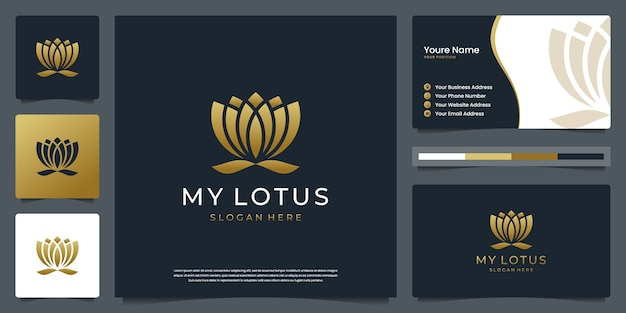 Minimalist elegant lotus flower. logos can be used for spa, beauty, salon, skin and business card Premium Vector
