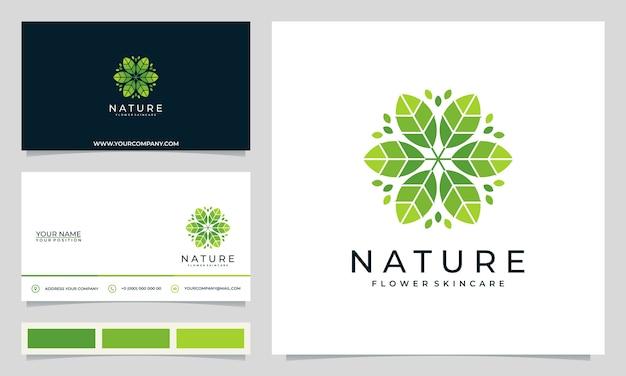 サロン、スパ、スキンケア、ブティック向けのシンプルでエレガントなモダンな花のロゴデザインのインスピレーション、名刺付き Premiumベクター