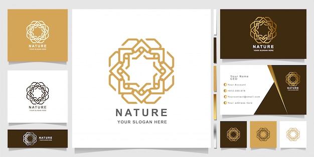 名刺デザインのシンプルなエレガントな飾り自然ロゴテンプレート Premiumベクター