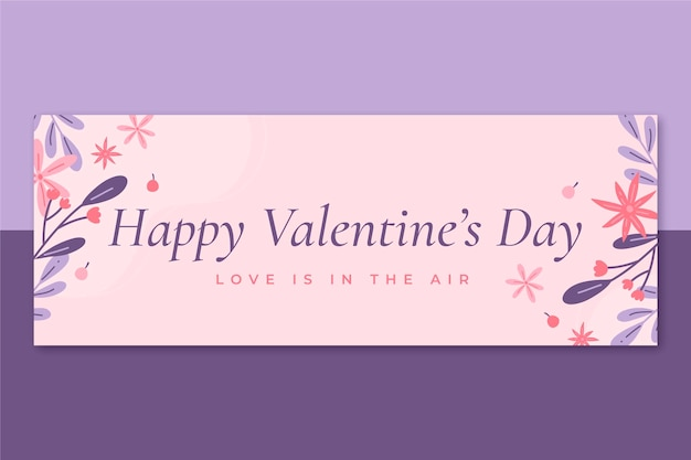 Minimalist facebook cover valentine's day template Free Vector
