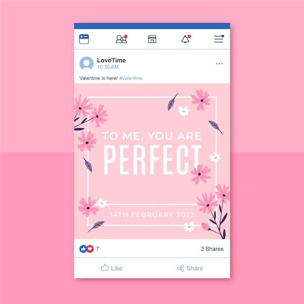 Minimalista facebook post modello di san valentino Vettore gratuito
