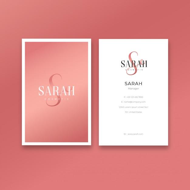 Minimalist feminine business card template Premium Vector