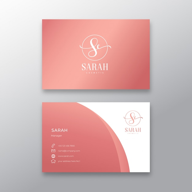 Minimalist feminine business card template Premium Vector