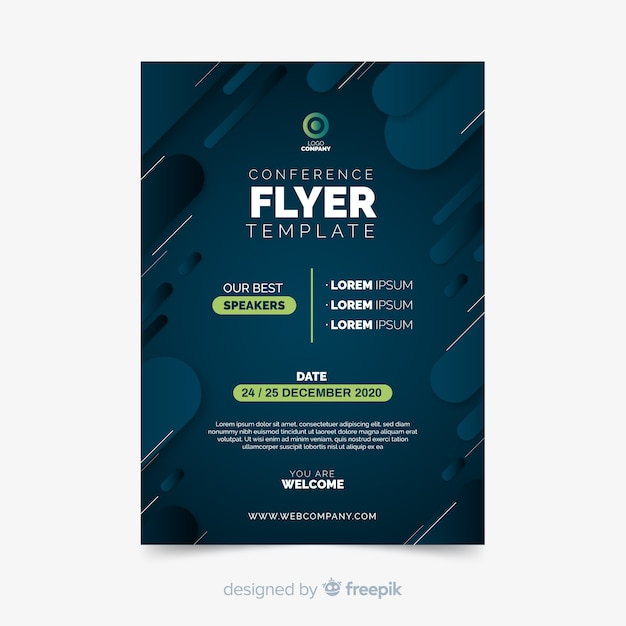 Minimalist flat conference flyer template Free Vector