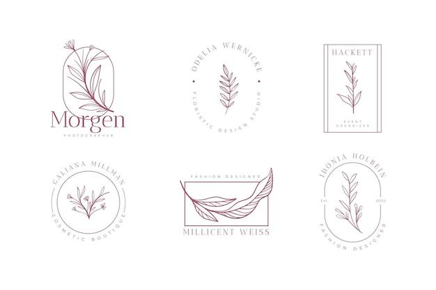 Collezione di logo floreale minimalista Vettore gratuito