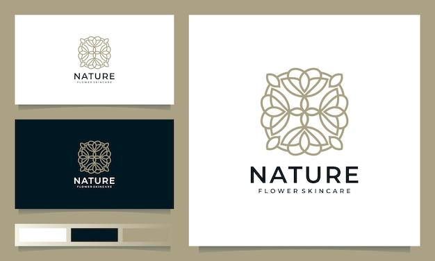 Минималистский цветочный дизайн логотипа, вдохновленный штриховым стилем Premium векторы