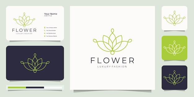 ミニマリストの花のロゴ。 Premiumベクター