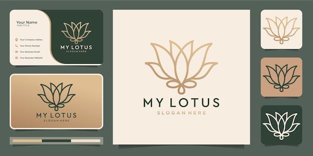 Minimalist flower lotus. luxury beauty salon,line art. Premium Vector