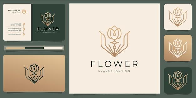 Minimalist flower rose logo templates and business card design Premium Vector