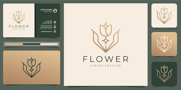 Minimalist flower rose logo templates and business card design Premium Vector