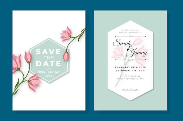 Minimalist flowers wedding invitation template Free Vector