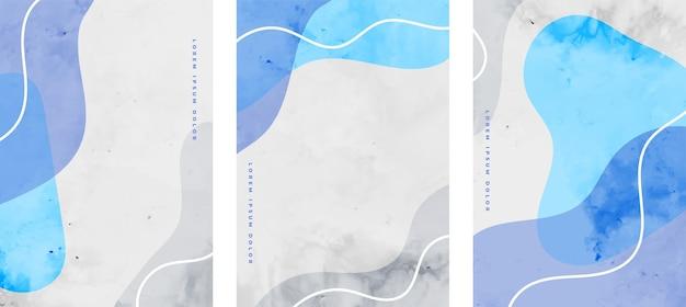 ミニマリストの流体は青い色で設定された抽象的なチラシを形作ります 無料ベクター