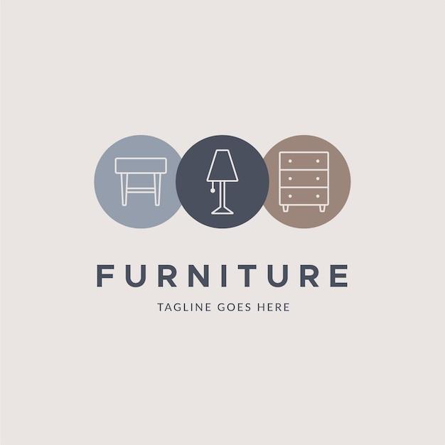 Минималистичный шаблон мебели с логотипом Бесплатные векторы