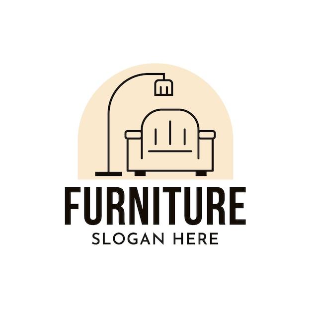 Минималистичный логотип мебели с креслом и лампой Бесплатные векторы