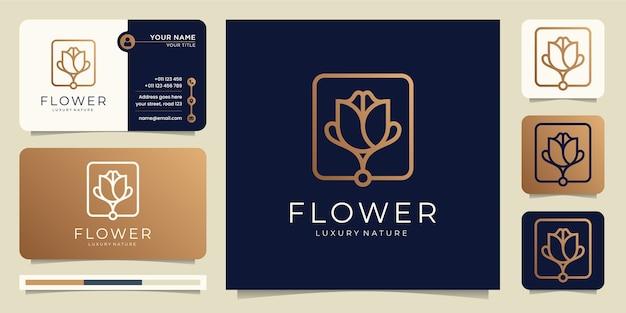 Minimalist gold flower rose luxury beauty salon,line art. Premium Vector