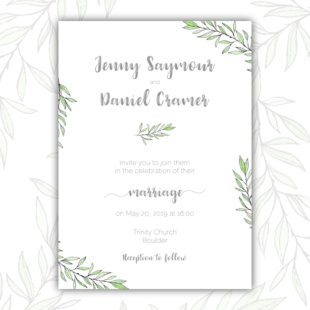 Minimalist green and white wedding invitation vector free download minimalist green and white wedding invitation free vector stopboris Images
