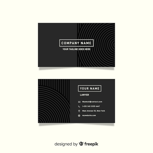 Minimalist grey business card template Free Vector