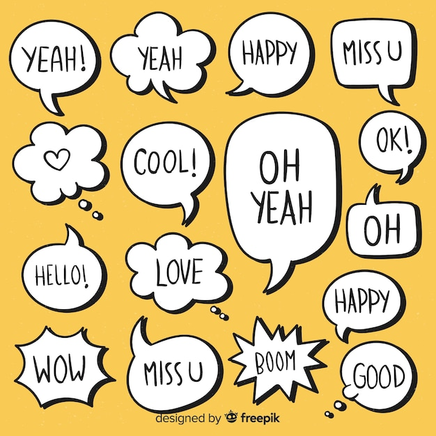 Minimalist hand drawn speech bubbles with expressions Free Vector