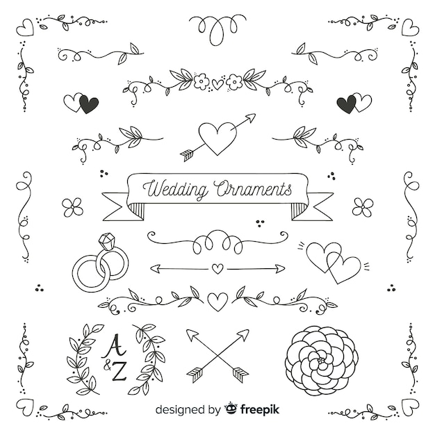 Koleksi ornament pernikahan digambar tangan minimalis Free Vector