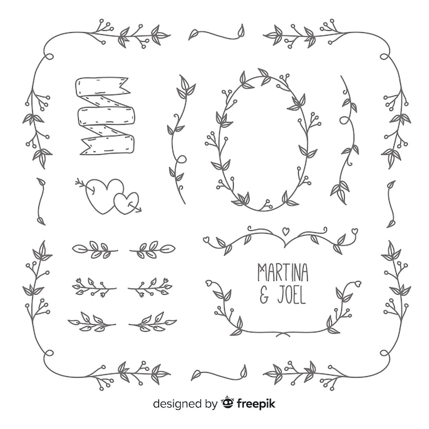 Paket ornament pernikahan digambar tangan minimalis Vektor Gratis