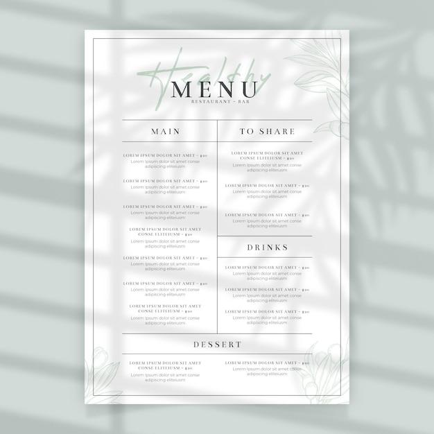 Минималистское меню ресторана здоровой пищи Бесплатные векторы