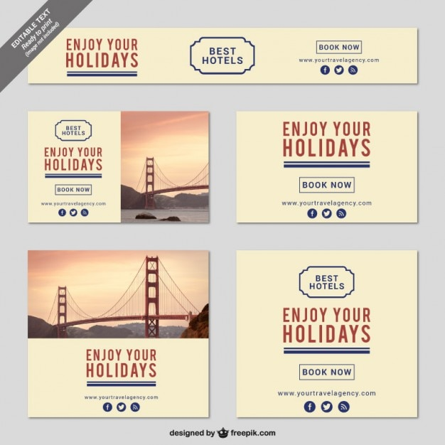 Minimalist holidays banner templates Vector | Free Download
