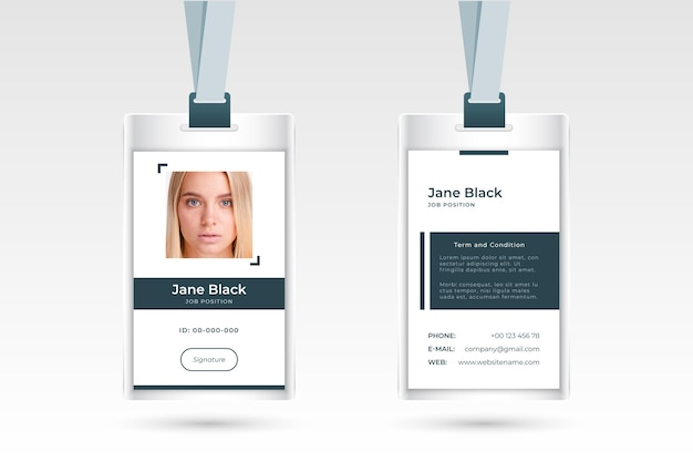 Minimalist id cards design with photo Free Vector