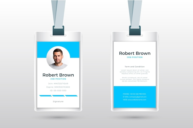 Minimalist id cards style with photo Free Vector